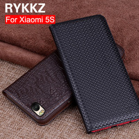 RYKKZ Genuine Leather Flip Cover For Xiaomi 5S Protective Case Leather Cover Hight Quality Flip Leather Cover Book Style For 5S