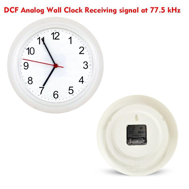 DCF77 Analog Wall Clock Receiving signal at 77.5 kHz Dual motor operated Quartz Machine Radio Control 10'inch Clocks Automatical