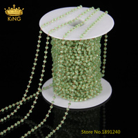 5Meters/Lot,Apple Green Glass Rondelle Bronze Links Beads,Wire Wrapped Rosary Rondelle Bracelet Findings,2x3mm,LS047