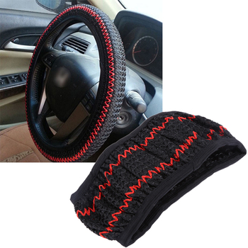 VODOOL Car Steering Wheel Cover Ice Silk Car Styling Summer Wheel Cover Black Beige Grey Auto Decoration Steering Wheel Cover image