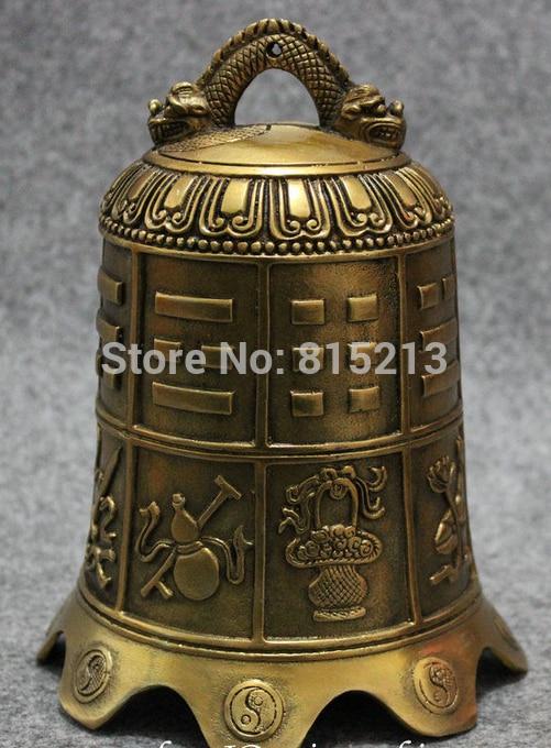 bi001187 Chinese Brass Buddhism Dragon Head Diagrams Statue 8 Auspicious Symbol Bellbi001187 Chinese Brass Buddhism Dragon Head Diagrams Statue 8 Auspicious Symbol Bell