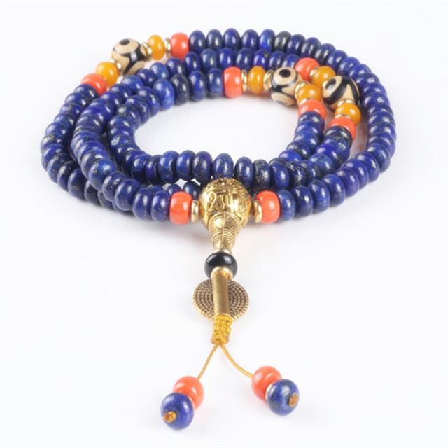 Ubeauty Alta calidad 8mm 108 cuentas de lapislázuli pulseras pulsera oración por La Meditación de Buda collar de piedra natural de color azul