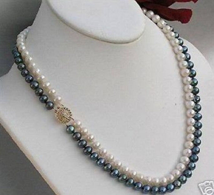 2rows 7-8mm black white freshwater Cultivation pearl necklace>Selling jewerly free shipping