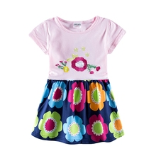 Kids Dress New Cotton Girls Summer Roupa Infantil Short Sleeve Floral Dresses Children Patchwork H7110