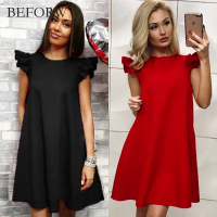 BEFORW Summer Casual Fashion Dress O Neck Lotus Sleeves Solid Color Dress Slim Was Thin Multiple