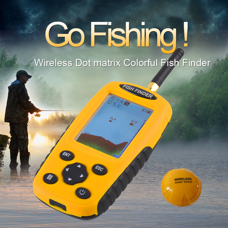 Free Shipping!Brand KDR Colorful Wireless Fish Finder Dot Matrix Sonar Sensor Transducer Depth Echo Sounder Recharged Battery portable fish finder bluetooth wireless echo sounder underwater bluetooth sea lake smart hd sonar sensor depth