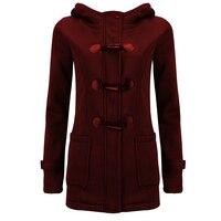 Zima Kobiety Z Kapturem Wełny Mieszanka Klasyczne Róg Klamra Skórzany Płaszcz Kobiety Mody Bluzy