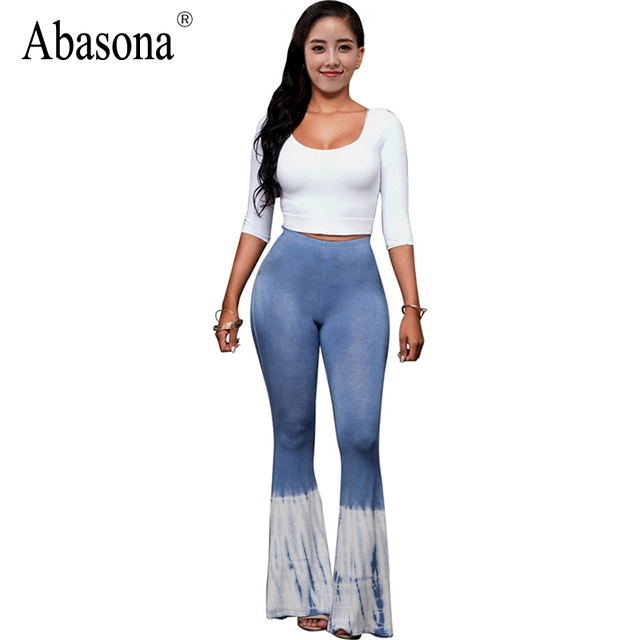 Women Rompers Womens Jumpsuit Autumn 2017 New Arrival Gradient Printed Two Piece Long Wide Leg High Waist Sexy Club Jumpsuits
