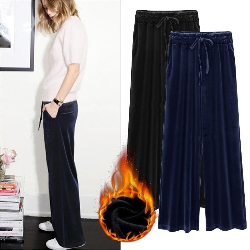 M-6XL Plus Size Women   Pants   Female Gold Velvet   Pants   Casual Loose High Waist   Wide     Leg     Pants