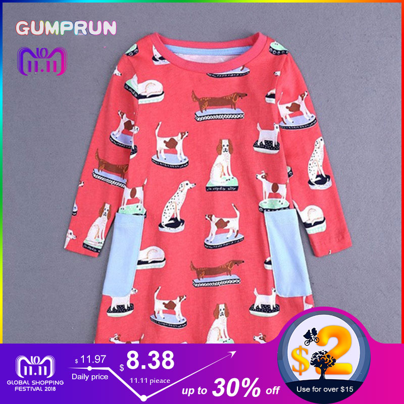 Fashion Toddler Girl Clothes Autumn Children's A-line Dress Happy Dog Print Girl Dresses Long Sleeve Magenta Princess Dress