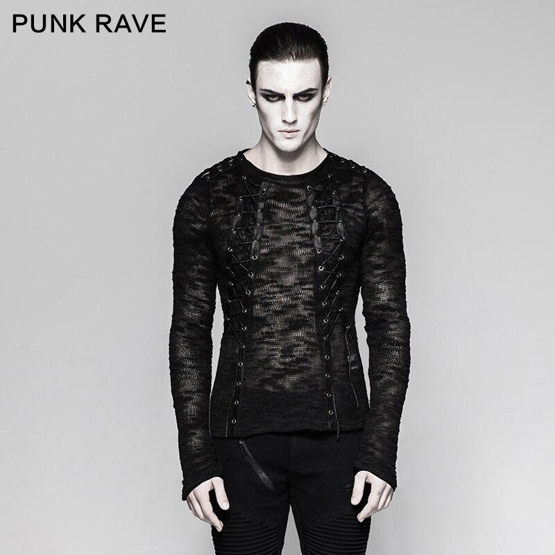Punk Rave hommes Sexy évider Steampunk chandail gothique noir Streetwear Hip Hop Rock à manches longues chemise haute
