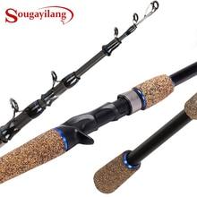 Soogayilang caña de pescar telescópica de 1,8 2,4 M, caña de pescar fundida, mango de goma, aparejos de pesca de Material de fibra de carbono
