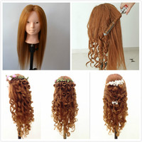 Wholesale 24 Inch Mannequin Head Animal Hair Hairdressing Training Head Cosmetology Mannequin Heads For Curl Iron