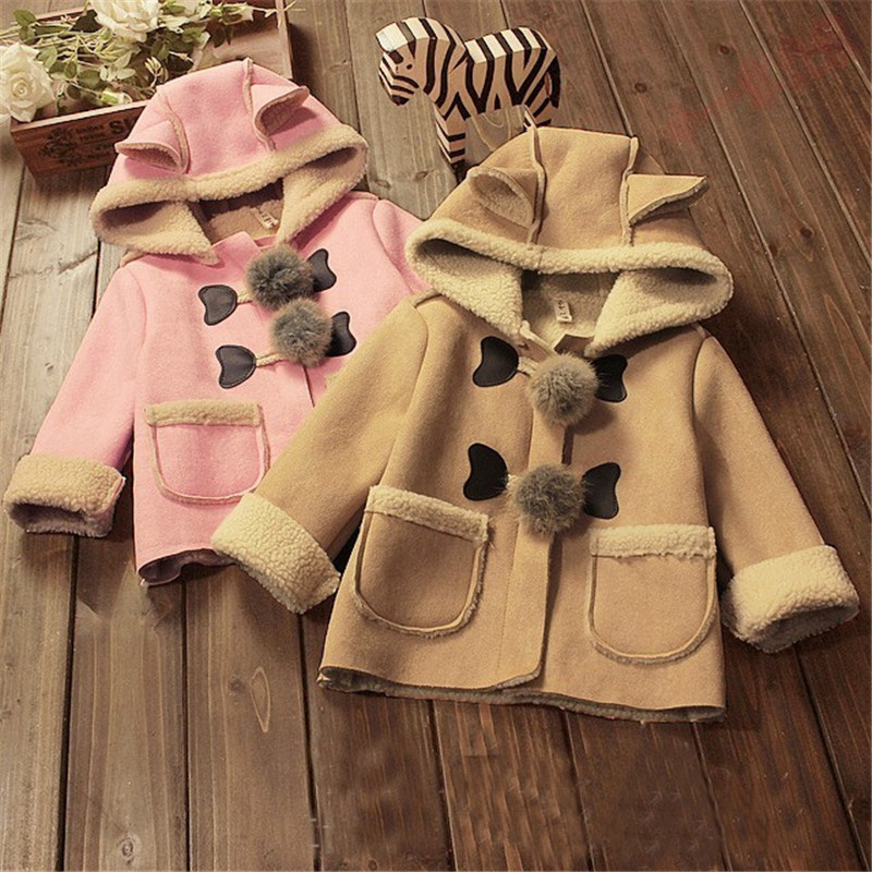 BibiCola Autumn Baby Girls Coat Jacket Clothes Toddler Fur Cotton Warm Coat Kids Hooded Children Cashmere Outerwear Coat