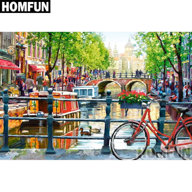 """HOMFUN, taladro redondo/cuadrado completo 5D, pintura de diamante DIY, bordado de """"Amsterdam"""", punto de cruz 5D, decoración para el hogar, regalo A02136"""
