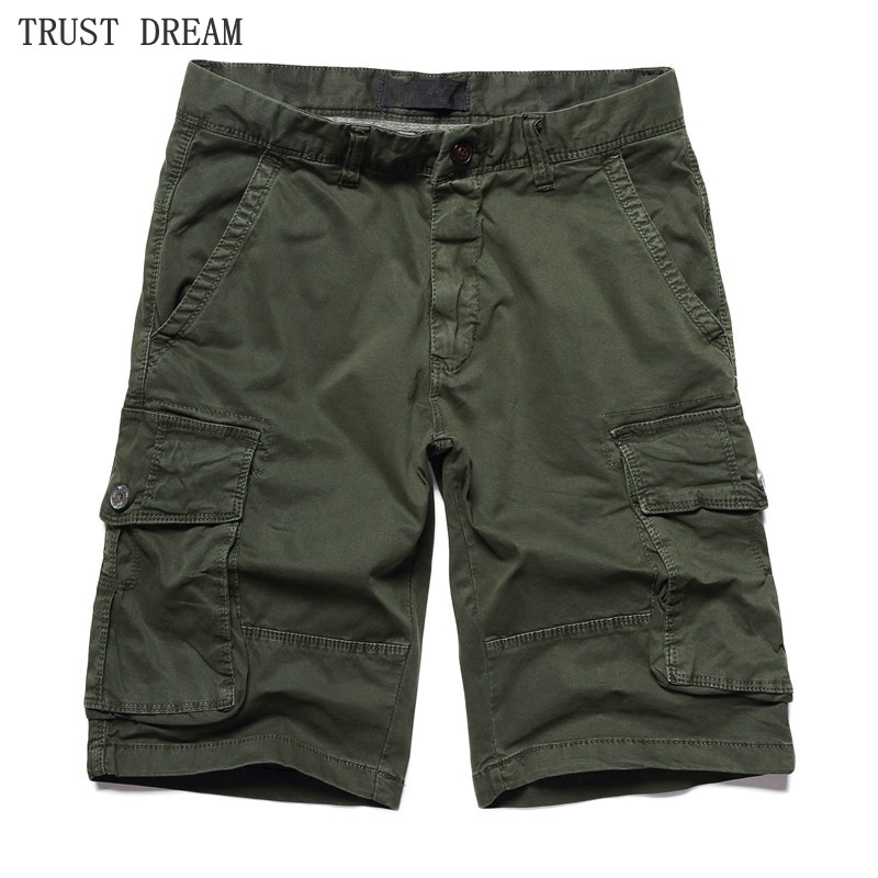 Fashion Men Cargo Shorts Quality Cotton Straight Casual More Pockets Outside Man Casual Short Work Clothing