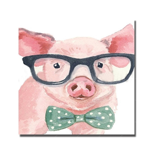 Pig wear glasses hand drawing abstract animal cheap art paintings ...