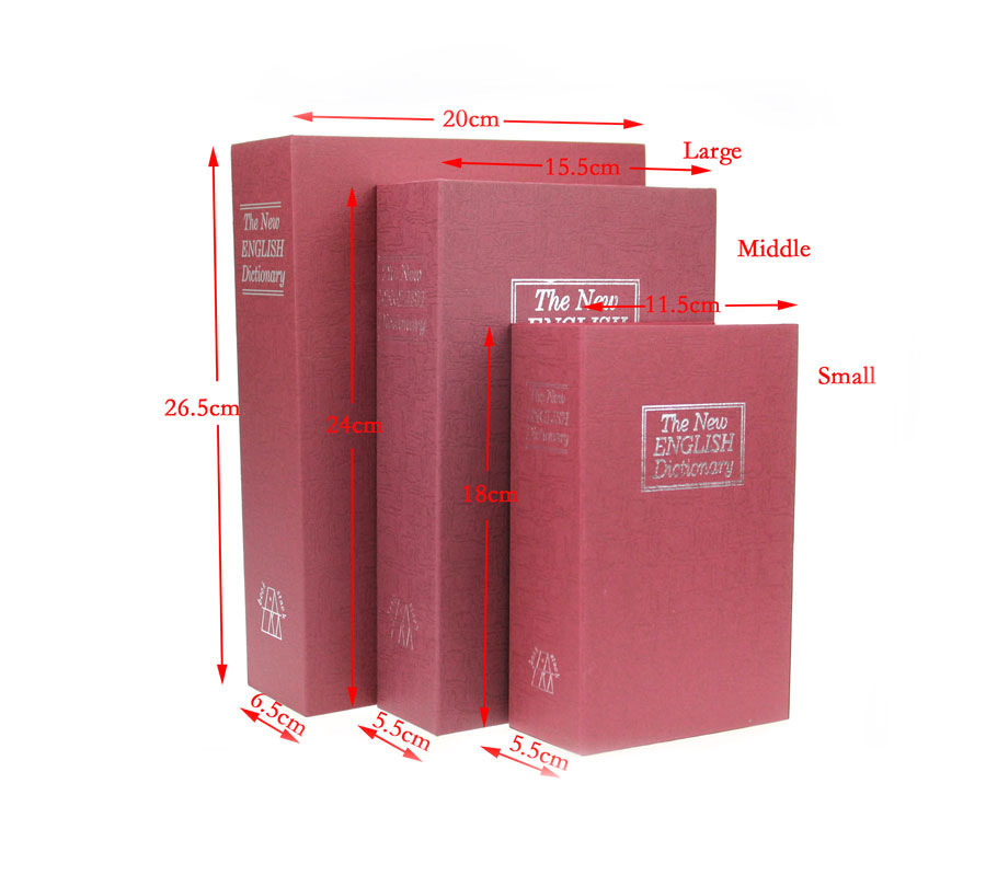 Dictionary Secret Book Piggy Bank Safes Simulation Money Jewelry Insurance Storage Boxes With Key Lock  240*155*55mm