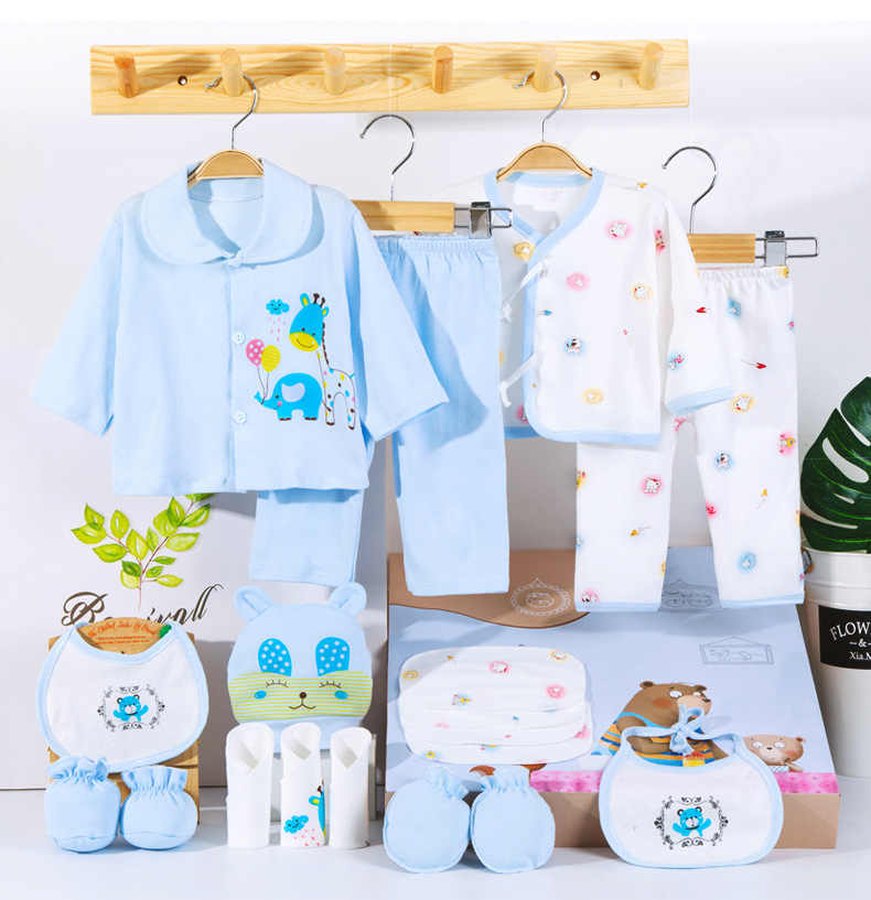 18 piecesbaby clothes boy spring autumn newborn clothes happy bear newborn baby girl clothes cotton newborn outfit kids clothes