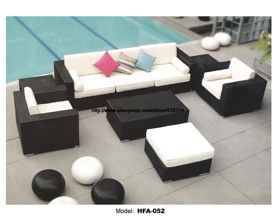 Large Outdoor Rattan Sofa Set 2016 New 2 Chair Corner Table