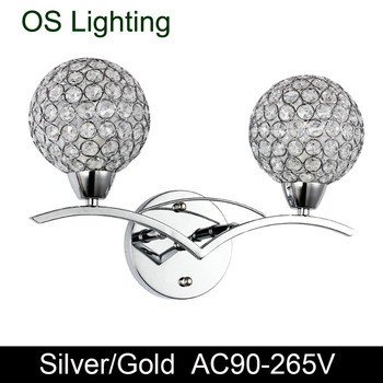 Modern k9 Crystal Wall Lamp two lampshade Silver Golden Wall Sconce Match E14 bulb 110V 220V Bedroom Aisle Stair Light