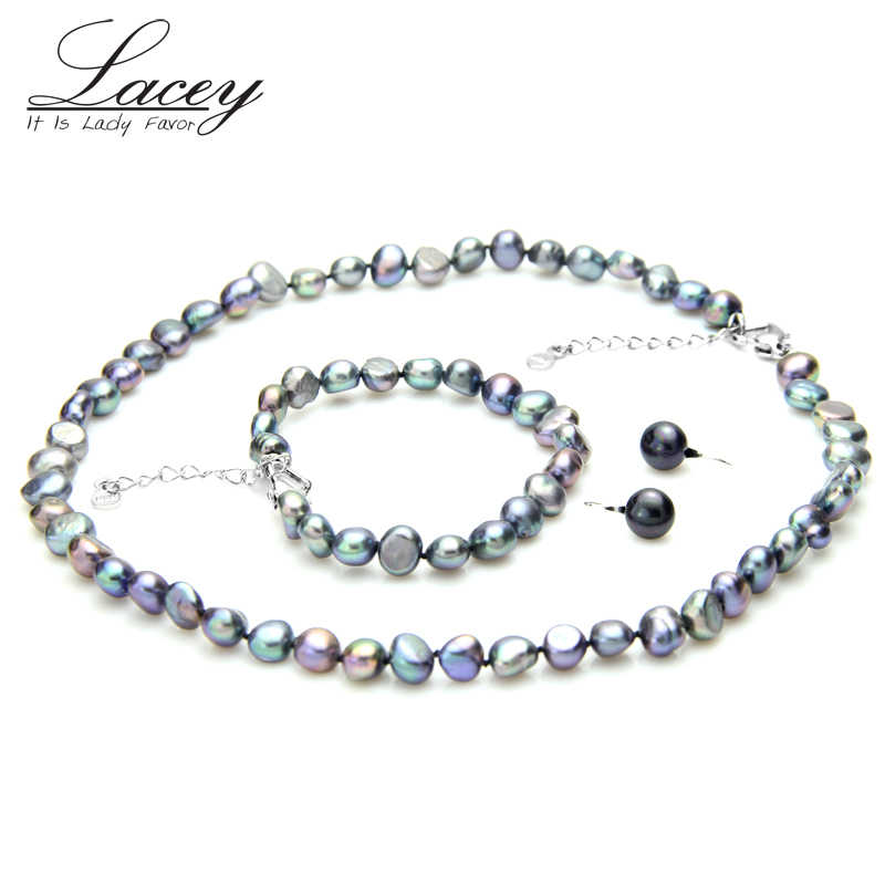 Black jewelry sets Freshwater Baroque Pearl Jewelry Sets Women,925 sterling silver Earrings,Fine wedding Jewelry Sets Gifts