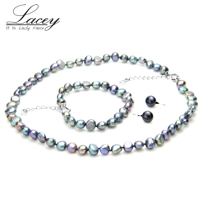 Black jewelry sets Freshwater Baroque Pearl Jewelry Sets Women,925 sterling silver Earrings,Fine wedding Gifts
