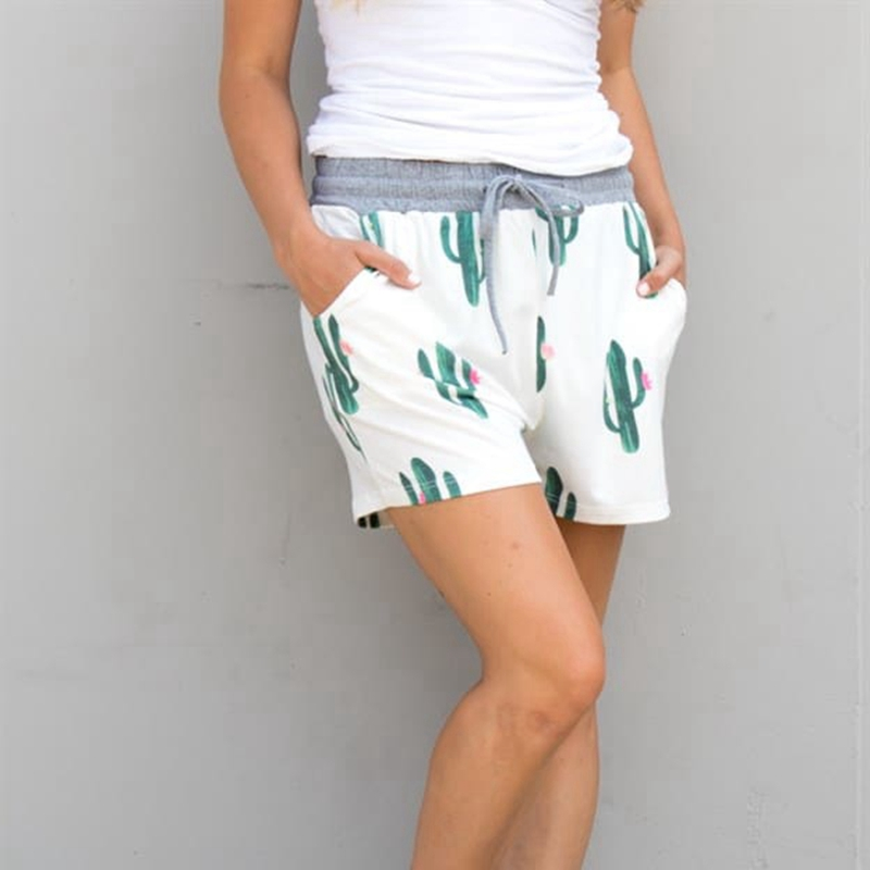 New 2018 Women Casual Cactus Printing Elastic Waist Summer   Shorts   Loose Ladies   Shorts   Hot