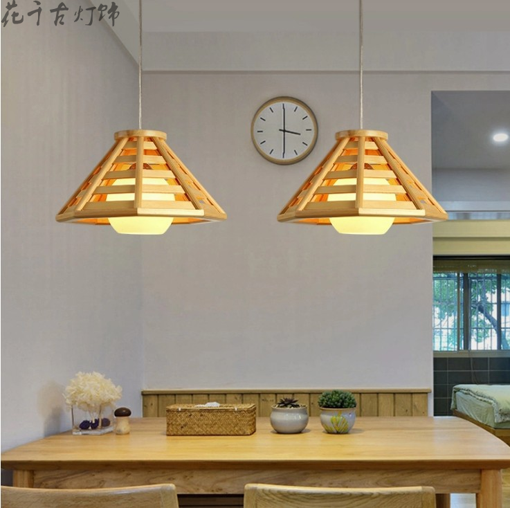 Japanese style solid wood restaurant Pendant Lights Hotel coffee shop staircase corridor bar bedroom decoration wood lamps ZL57