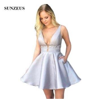 Vestidos de Fiesta Cortos de raso de línea a para chicas cuello en V Sexy vestidos de fiesta con bolsillos espalda descubierta vestido barato SHD13