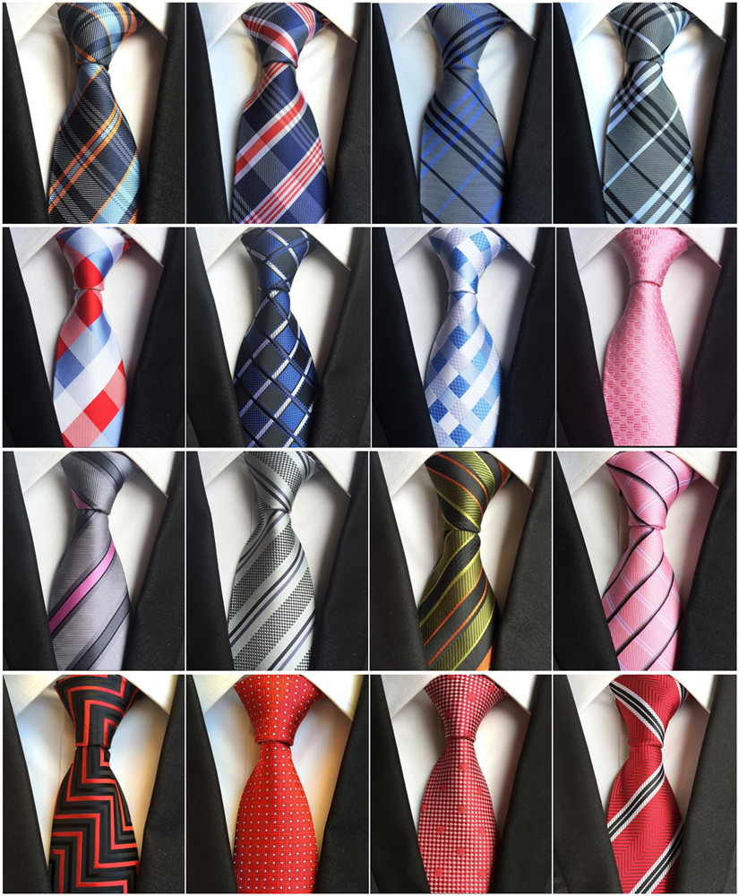 New Classic 100% Silk Men's Ties Neck Ties 8cm Plaid Striped Ties for Men Formal Business Luxury Wedding Party Neckties Gravatas(China)