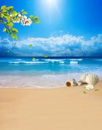 10x10ft Bianco Flowes Ramo Riva Del Mare Shell Spiaggia Di Sabbia