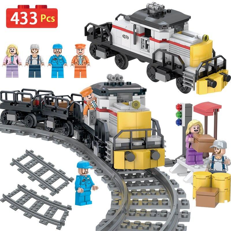 Ville Trafic Ferroviaire Ensembles Compatible LegoINGLYS Designer Train Fret Puissance Modèle Blocs Brique Jouets Pour Enfants Cadeau D'anniversaire