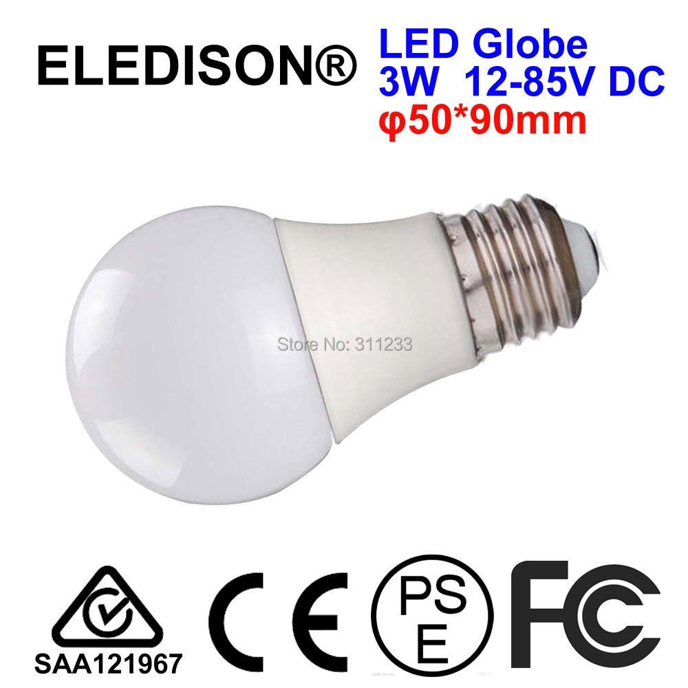 12V 24V DC Screw LED Globe Bulb 7W E27 E26 70x137mm Low Voltage 12-85V DC RV Solar Power Industrial Machine Equipments Use 137 power