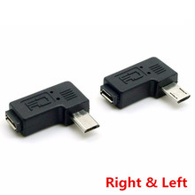 Micro USB 2.0 5Pin Male to Female M to F Extension connector Adapter 9mm Long plug Connector 90 Degree Right & Left Angled
