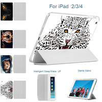 MTT Ultra Slim Four Fold PU Leather With Printed Leopard Hard Back Smart Stand Case Cover