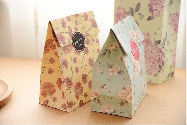 cute fresh flower printing paper bags gift bags kraft paper bag