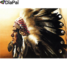 DIAPAI Diamond Painting 5D DIY 100% Full Square/Round Drill Character feather Embroidery Cross Stitch 3D Decor A24730