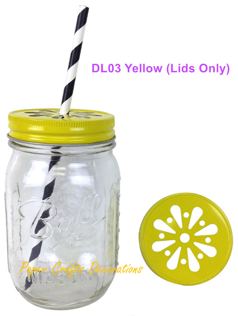 15pcs lids only rustic yellow pewter daisy cut mason jar lids for straws or candle lights decor wedding birthday party favors - Decorative Jars