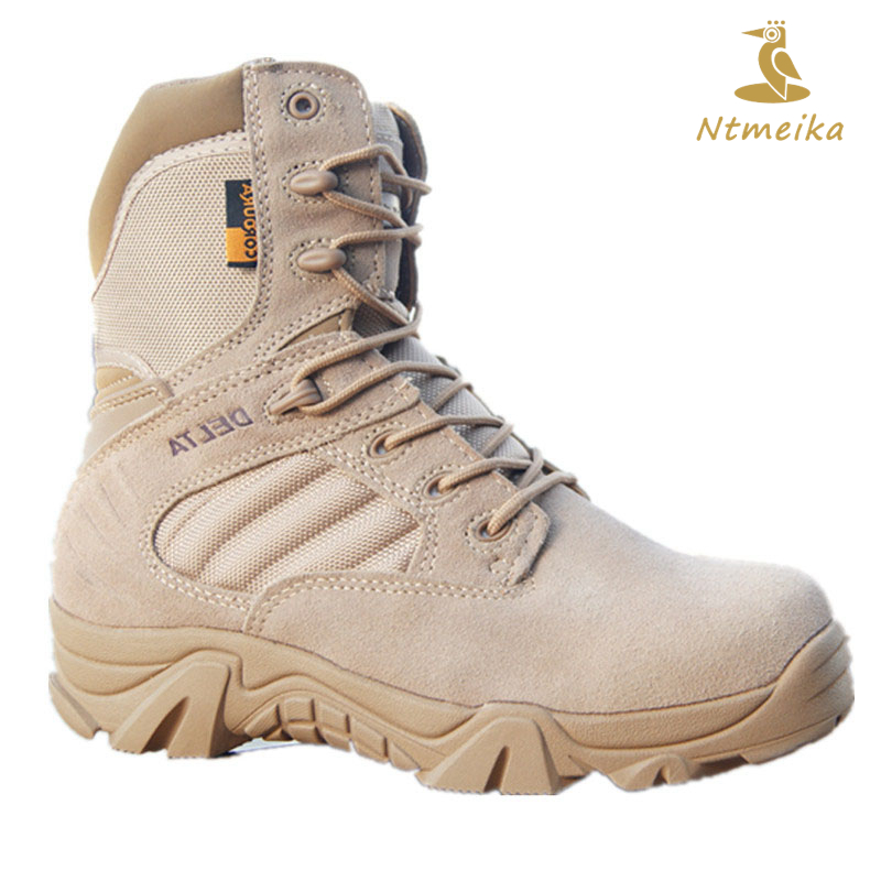 2018 Winter Autumn Men Shoes High Quality Army Special Force Tactical Desert Delta Military Boots PU Leather Combat Boots Men