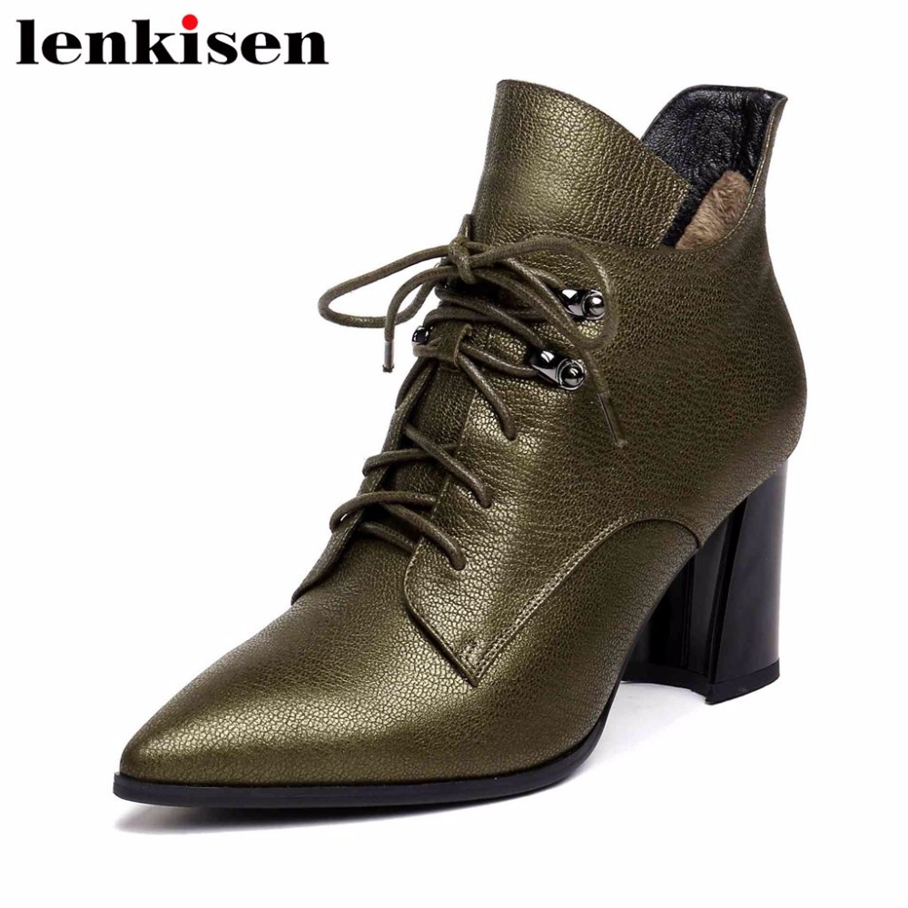 Lenkisen natural leather pointed toe zipper british style retro design ankle boots thick high heels woman plus size shoes L6f2 цена