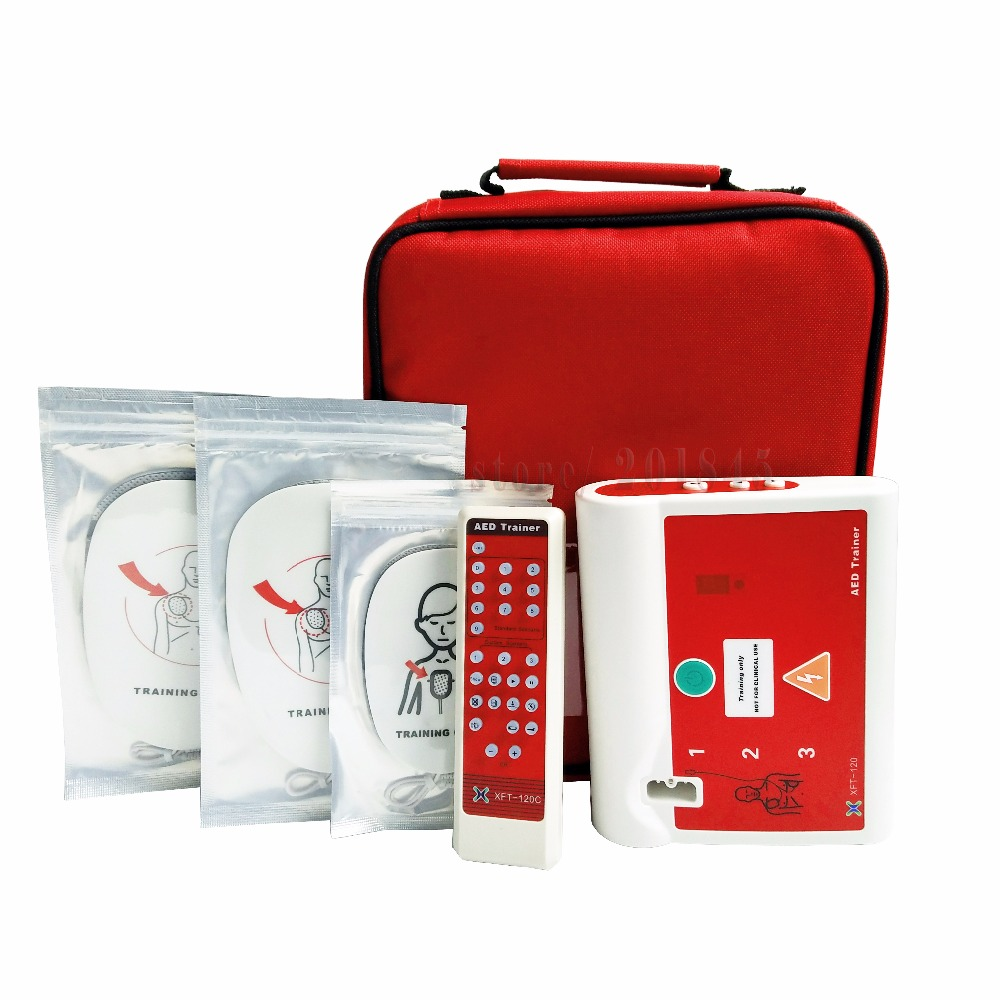 5Pcs/Lot AED Trainer XFT-120C First Aid Training Kit Emergency AED/CPR Teaching Device Unit In English And French For Healthy xft 120c aed simulation defibrillator trainers simulation aed m defibrillation apparatus aed defibrillator wbw400