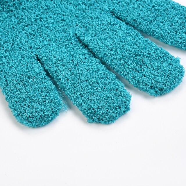 2 PCS Exfoliating Gloves Mitt Bath Shower Scrub Tan Dead Skin Removal Exfoliator Elastic Five-Finger Bath Gloves Random Color 3