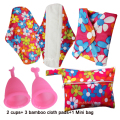 3 PCS Bamboo Cloth menstrual Pads+2 MENSTRUAL CUPS+1 Mini Wet Bag,Soft Silicone Menstrual Cups Cheapest Period Cups For Lady