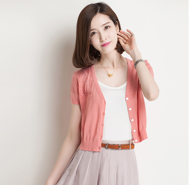 Summer Style Knitted Cardigan Sweater New Fashion Women Short Sleeve
