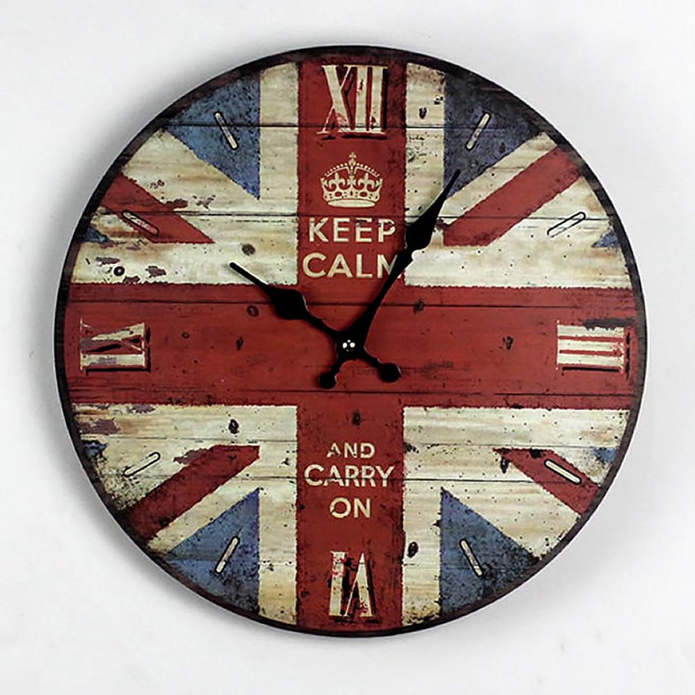 Vintage British Style Round Wood Wall Clock Watch Creative Fashion