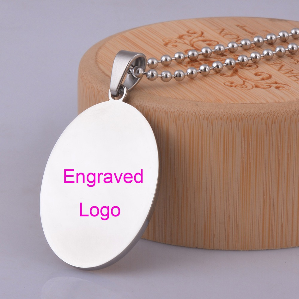 316L Stainless Steel ID Oval Pendant Customized Make Name Logo Free Engraving Necklace