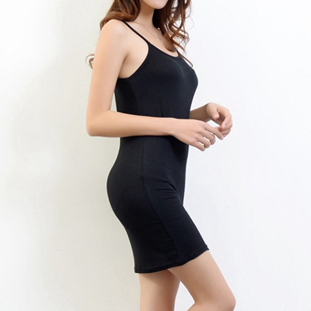 482e4a7faec2f Women's Sexy Slips Solid Sleeveless Bandage Bodycon Evening Party Slim Mini  Dress Black White Full Slips Ladies Intimates Slips