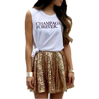Modern Fashion Mini Sequin Skirt A Line Above Knee Short Summer Skirt Sparkling Shiny Women Skirts 2016 Hot Sale Custom Made