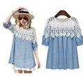 Beautiful2017 Moda Mulheres Blusa de Renda Patchwork denim azul O-pescoço Pulôver Camisas de Manga Trimestre Feminino Top Plus Size 5XL
